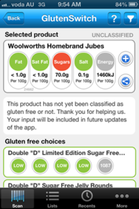 Gluten Free Switch App Uncertain